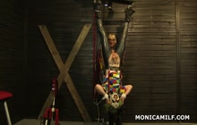 Mistress Monica machine fucked tied guy
