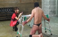 Japanese mistress in latex having fun with her slave