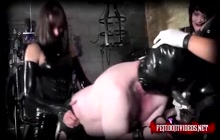Kinky domino sluts fucking one guy with strapons