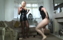 Busty mistress ballbusting her hubby