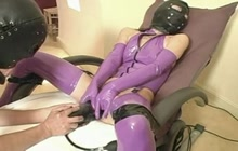 Asian girl in latex gets toyed