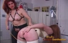 Slave in latex spanked and whipped hard