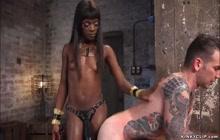 Black wife spanks alt man sub