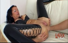 Nasty girl in latex getting double fisted