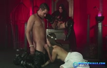 Kinky Mistress screws with her slave couple